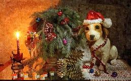 Widzieć rok pies święta bożego życie wciąż Malować mokrą akwarelę na papierze Naiwna sztuka sztuka abstrakcyjna Rysunkowa akwarel ilustracji