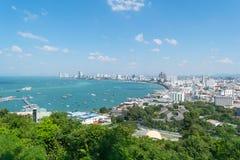Widzii Pattaya miasto w Tajlandia na wzgórzu Obrazy Royalty Free