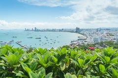 Widzii Pattaya miasto w Tajlandia na wzgórzu Obrazy Stock
