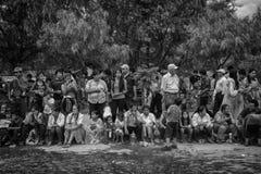 Widzowie Karnawałowy Tarija (B&W) obrazy stock