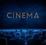 Widzowie w kinie, błękitny tonowanie Obraz Royalty Free