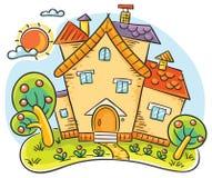 Wieś dom z ogródem ilustracji