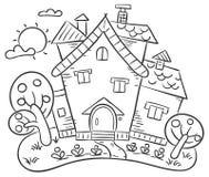 Wieś dom z ogródem royalty ilustracja