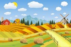 Wieś krajobraz z haystacks na polach royalty ilustracja