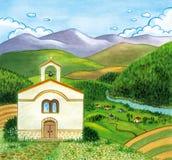 Wieś krajobraz z kościół i górami ilustracji
