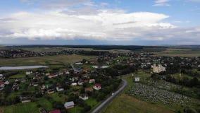 Wieś, krajobraz, Zachodni Ukraina, widok z lotu ptaka zdjęcie wideo