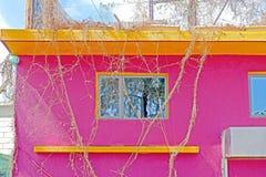 Wieś mały budynek z menchii ścianą z okno, bambusowa dekoracja obrazy stock