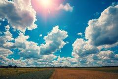 Wieś na jaskrawym słonecznym dniu Zdjęcia Stock