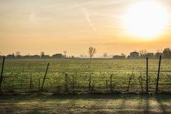 Wieś przy wschodem słońca Zdjęcia Royalty Free