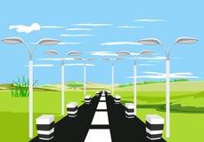 Wieś widok, zieleni wzgórza, autostrada widok, pobocze zaświeca sztuki światła wektoru świat ilustracja wektor