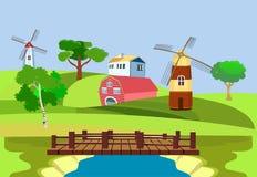 Wieś widok, zieleni wzgórza, gospodarstwo rolne mieści i mleje sztuki światła wektoru świat royalty ilustracja