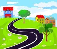 Wieś widoku zieleni wzgórza, droga sztuki światła wektoru świat ilustracja wektor