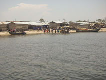 Wieśniacy na Ngamba wyspie, Uganda, Afryka obrazy royalty free