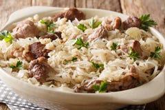 Wieśniaków stylowi Estońscy mulgikapsas stewed wieprzowinę z sauerkraut, cebulami i jęczmiennym zbliżeniem w naczyniu na stole, obraz stock