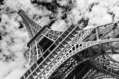 wieża eiffel Paryża czarny white Zdjęcia Stock