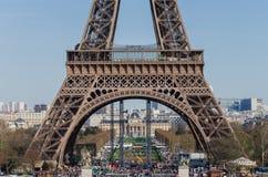 wieża eiffla nad Paris wontonem bridżowy pejzaż miejski Francja, Europa Fotografia Royalty Free