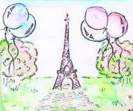 wieża eiffla Zielony gazon, balony i zieleni drzewa, - ilustracja ilustracja wektor