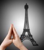 Wieża Eifla cień. Obrazy Royalty Free