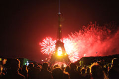 Wieża Eifla w święcie państwowym fotografia stock