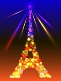 Wieża Eifla w błyszczących błękitnych i żółtych światłach Obraz Royalty Free