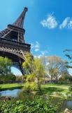 Wieża Eifla w Paryż w wiośnie, panorama wizerunek Obraz Stock