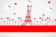 Wieża Eifla z miłości rośliną Ilustracja Wektor