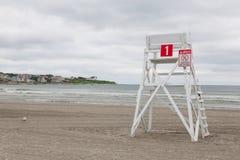 Wieża obserwacyjna na pustej plaży w Middletown, Rhode - wyspa, usa Zdjęcia Royalty Free