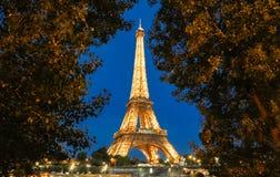 Wieży Eifla wycieczka turysyczna Eiffel iluminujący przy nocą, Paryż, Francja Zdjęcie Royalty Free