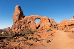 Wieżyczka łuk lokalizować w łuku parku narodowym Utah zdjęcie stock