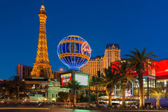 Wieża Eifla w nocy Las Vegas Obrazy Stock