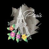 Wieża Eifla z kwiecistym Fotografia Royalty Free