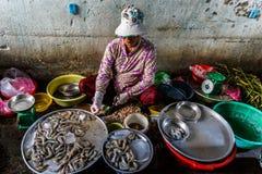 ?wie?ej ryby sprzedawca przy Xom Chieu rynkiem, Saigon, po?udnie Wietnam zdjęcie stock