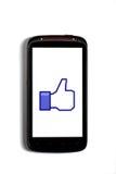 Wie Facebook Telefon Stockbild