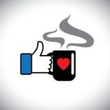 Wie Hand up Symbole von Daumen u. von Kaffeeliebe - vector Ikone Lizenzfreies Stockbild