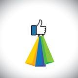 Wie Handsymbol von Daumen oben mit Einkaufstaschen - vector Ikone Stockfoto