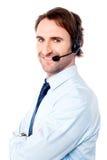 Wie kann ich Ihnen heute helfen? Stockfoto