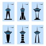 Wież kontrolnych ikony ilustracji