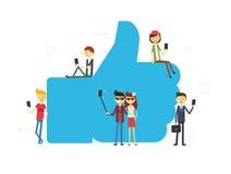 Wie Konzeptillustration von den jungen Leuten, die mobile Tablette und Smartphone verwenden Lizenzfreie Stockbilder