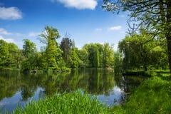 Wieś krajobraz z jeziorem i drzewami zdjęcia royalty free