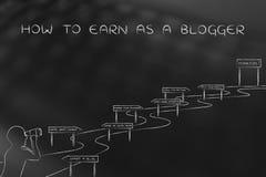 Wie man als Blogger, Mann erwirbt, der verwickelten Weg betrachtet Stockbilder
