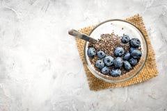 Wie man chia Samen isst Nachtisch mit Jogurt, chia und Blaubeeren auf grauem copyspace Draufsicht des Hintergrundes Lizenzfreie Stockfotos
