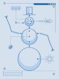 Wie man einen Schneemann aufbaut Stockbilder