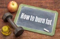Wie man fettes Konzept auf Tafel brennt Stockfotos
