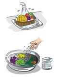 Wie man Frischgemüse wäscht Lizenzfreies Stockbild