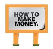 Wie man Geld auf einem hölzernen Zeichen verdient Stockfoto