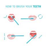 Wie man Ihre Zähne putzt Vektor Stockfotos