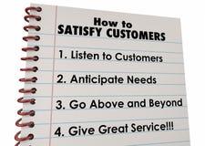 Wie man Kunden-Listen-Anweisungen zufriedenstellt vektor abbildung