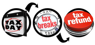 Wie man Steuererleichterungen größere Rückerstattung Abgabefrist erhält Lizenzfreie Stockbilder
