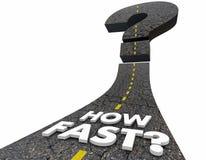 Wie schnell Frage Mark Road Speed Traveling Forward 3d Illustrat stock abbildung