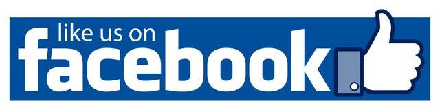 Wie wir auf facebook Fahne stockfotos